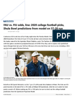 FAU vs. FIU odds, line_ 2020 college football picks, Shula Bowl predictions from model on 37-20 run