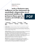 30.1 Prevalencia y factores que influyen en los síntomas de ansiedad y depresión en el personal médico de primera línea que lucha contra el COVID-19 en Gansu (1)