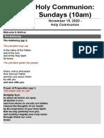 Order of Service - HC Nov 15th 20