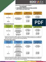 Calendario periodos evaluación Edomex