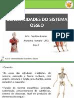GENERALIDADES DO SISTEMA ÓSSEO. MSc. Carolline Raidan Anatomia Humana- UFES Aula 3 (1)