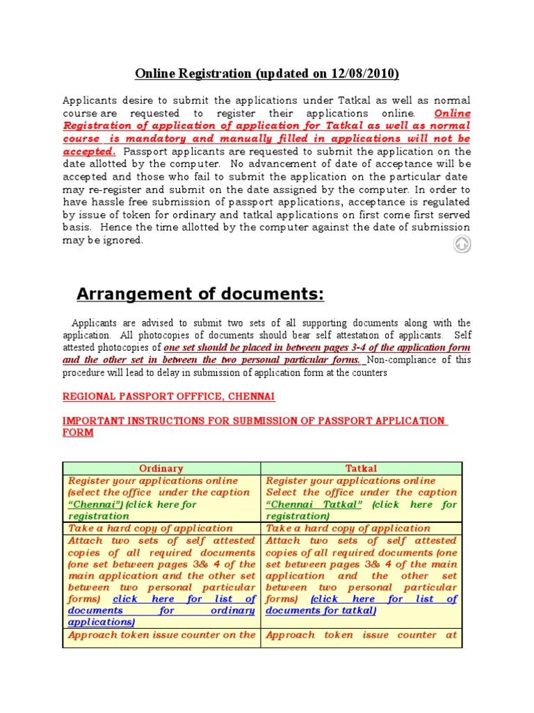 Online Registration Tatkal Information Identity Document Passport