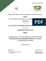 LE ROLE DE L'ACCUEIL DANS LA SATISFACTION DES BESOINS DES ASSURES SOCIAUX CAS DE L'AGENCE DE COCODY.pdf