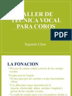 TALLER DE TECNICA VOCAL PARA COROS 2