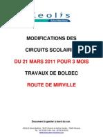 Circuits modifiés BOLBEC - 3 mois - TRAVAUX Rte de Mirville