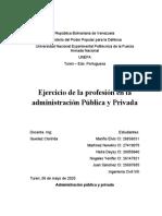 Ejercicio de la profesión en la administración Pública y Privada