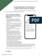 Transferir datos del dispositivo iOS anterior al nuevo iPhone, iPad, o iPodtouch con iCloud - Soporte técnico de Apple