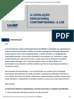 A legislação educacional contemporânea a LDB