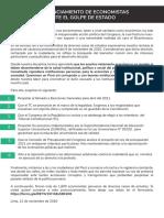 Pronunciamiento de Más de 1600 Economistas Peruanos