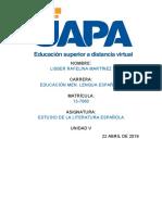 Tarea 5 literatura española. Lisber M