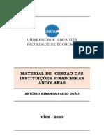 MATERIAL DE GESTÃO DAS INSTITUIÇÕES FINANCEIRAS ANGOLANAS PROFESSOR  2020