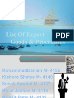 List Of Export Import Goods And Procedure