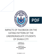 Impacts of Facebook on the Eating Pattern of Undergraduate Students of Dhaka City