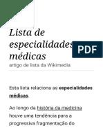 Lista de especialidades médicas – Wikipédia, a enciclopédia livre