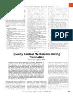 Quality Control Mechanisms During Translation
