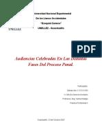 Audiencias Celebradas En Las Distintas Fases Del Proceso Penal