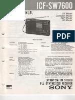 Sony Icf-sw7600 Receiver Sm