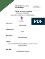 Análisis Jurídico Del Artículo Publicado Por La Dra. Vanesa Aguirre Guzmán