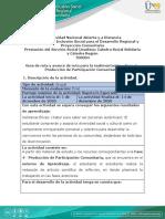 Guía de ruta y avance de ruta para la realimentación - Fase 4 - Producción de Participación Comunitaria