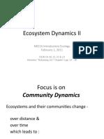 2011 Lecture 4b Ecosystem Dynamics II