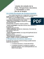 Tema 2 Los niveles de estudio de la lengua española