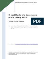 Teresa Montiel Alvarez (2014). El mobiliario y la decoracion entre 1860 y 1920