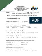 Lista 1 Funções Limites Continuidade e Derivadas Parciais