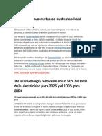 3M anuncia sus metas de sustentabilidad para 2025