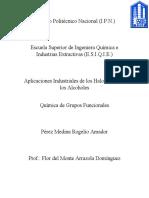 halogenuros y alcoholes ensayo