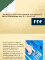 Abordări moderne al managementului serviciilor bancare în