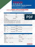 Tesco Oil and Gas Company United Kingdom Job Offer Application Form.