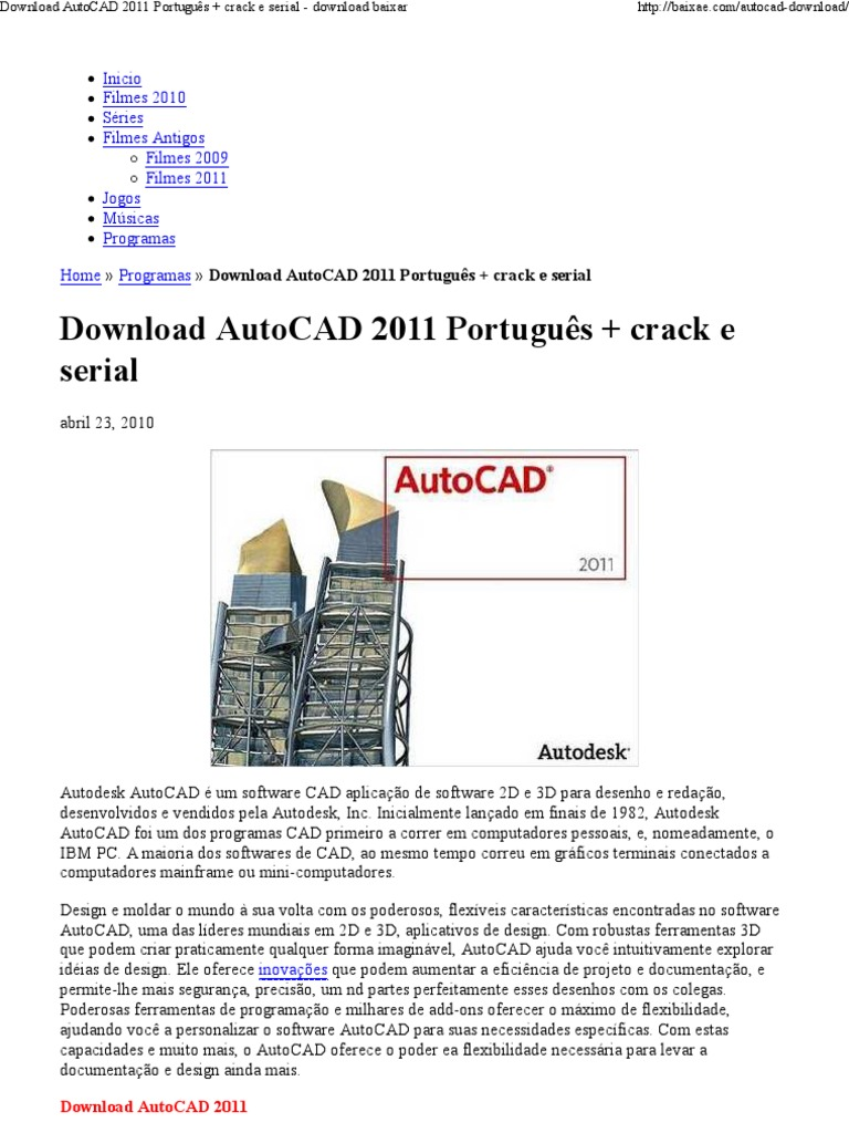 autocad 2011 download gratis em portugues completo + serial torrent