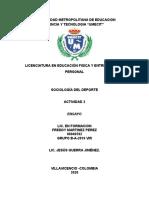 ACTIVIDAD 2 EL GRUPO DEPORTIVO Y LA INFLUENCIA DEL DEPORTE EN EL PENSAMIENTO Y COMPORTAMIENTO DE LAS PERSONAS Y GRUPOS SOCIALES.