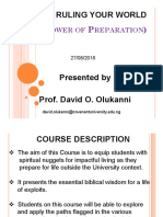 TMC 411 RULING YOUR WORLD Power of Preparation Prof Olukanni