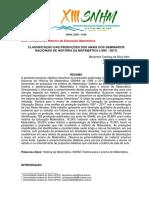 CLASSIFICAÇÃO DAS PRODUÇÕES DOS ANAIS DOS SEMINÁRIOS NACIONAIS DE HISTÓRIA DA MATEMÁTICA (1995 - 2017)