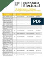 Calendario Elecciones Subnacionales 2021