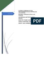 Cuadro comparativo de procedimientos de control de los costos Oswald Martinez Gonzalez