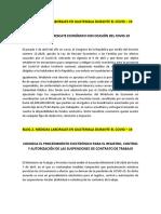 MEDIDAS LABORALES EN GUATEMALA DURANTE EL COVID