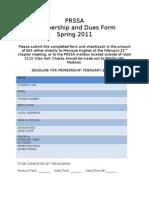 Spring 2011 Membership Form