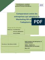 Comparaison Entre Les Entreprises Qui Adoptent Le Marketing RH Et Qui Ne l'Adoptent Pas