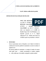 SOLICITUD DE RECTIFICACION DE PARTIDAS DE NACIMIENTO