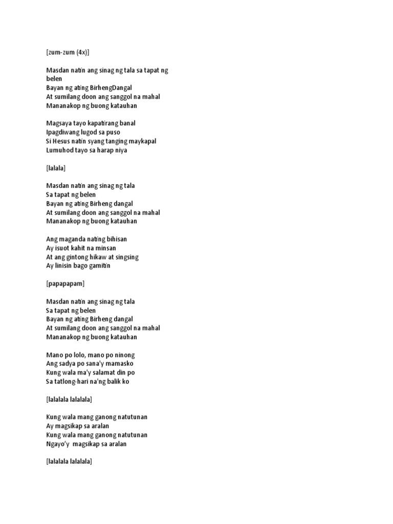 star ng pasko lyrics pdf