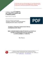 Mecanismos restaurativos en las nuevas legislaciones penales juveniles