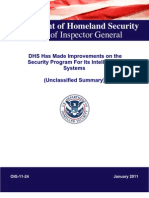 DHS Has Made Improvements on the Security Program For Its Intelligence Systems (Unclassified Summary)