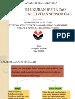 PENGARUH UKURAN BUTIR ZnO TERHADAP SENSITIVITAS SENSOR GAS