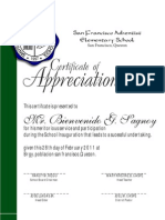 Certificate of Appreciation SFAES