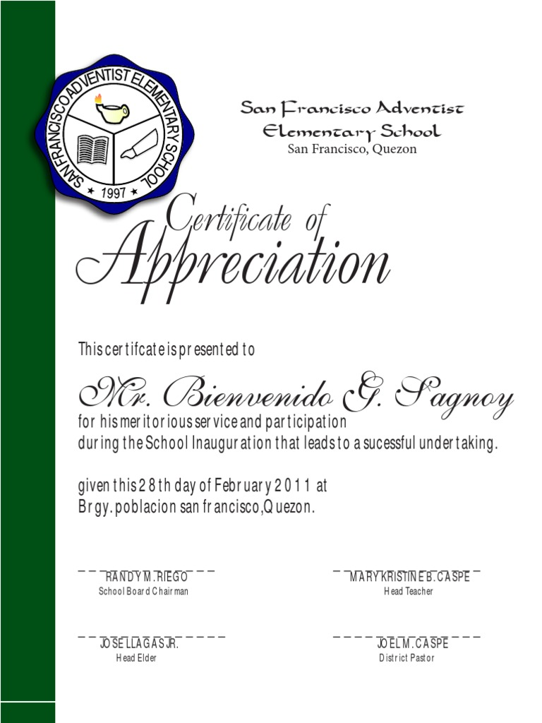 Certificate of appreciation sfaes yadclub Images