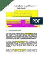 Ejemplo para redactar la Justificación y Delimitación