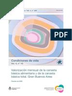 Canasta Básica de octubre 2020 - INDEC