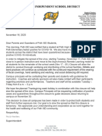 Poth ISD letter to parents and staff - 11-16-2020